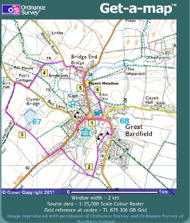 Great Bardfield Walk map