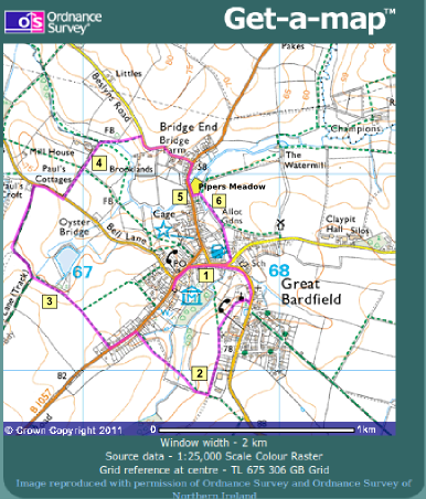 Great Bardfield Walk map